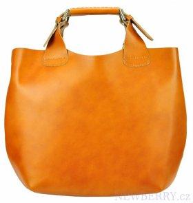 7267659c4d Velká koňakově hnědá kožená dámská shopper kabelka   NEWBERRY ...